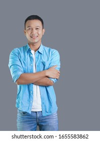 Portrait of Attractive smiling asian man. smart Businessman look confident and handsome.