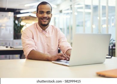 Portrait of attractive smiling copywriter preparing translation script for content managers of website creating articles about product and service overview working in coworking place using 5G wireless
