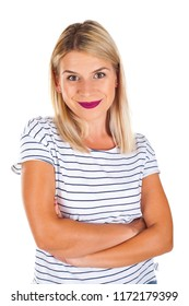 Portrait of attractive smiling woman with arms crossed on isolated
