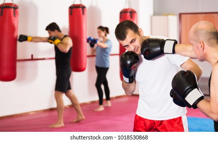 Portrait of attractive sportsmen competing in boxing gloves