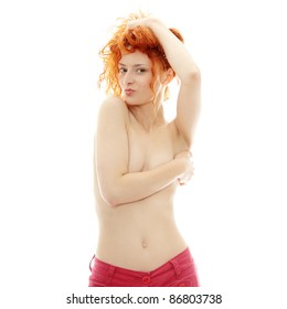 Portrait of the attractive topless redhead girl , isolated on white background