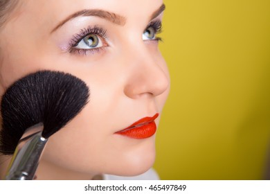 Portrait of an attractive woman with brush for makeup