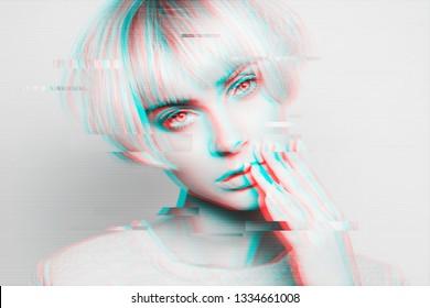 Porträt einer attraktiven Frau mit glitzerndem Effekt