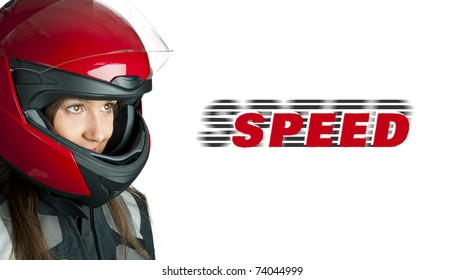 Portrait of attractive woman in motorbike helmet looking aside. Isolated on white with copyspace