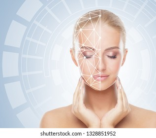 Portrait of attractive woman with a scnanning grid on her face. Face id, security, facial recognition, future technology.
