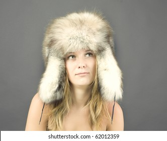 Portrait of attractive woman in winter style