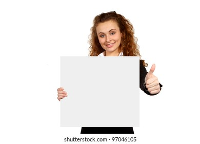 Portrait of attractive young business woman with blank signboard, showing ok. Isolated on white background