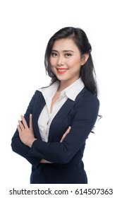 Portrait of an attractive young businesswoman isolated on white.