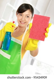 portrait of Attractive young woman cleaning windows with sprayer and sponge