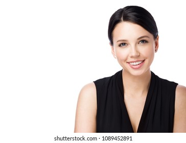 Portrait of attractive young woman isolated on white background. Beautiful office worker