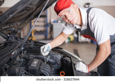 Portrait of an auto mechanic at work on a car