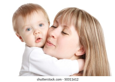 A portrait of baby embracing his lovely mom