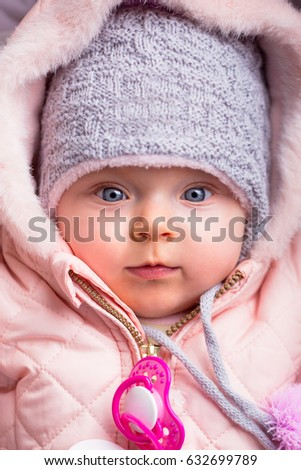298953be2 Portrait Baby Girl Winter Jacket Hat Stock Photo (Edit Now ...