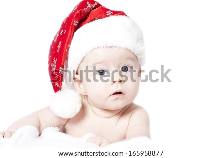 9c16c1bfba3 Portrait Baby Santa Hat Isolated On Stock Photo (Edit Now) 165958877 ...