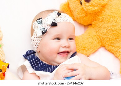 portrait of baby . sweet baby,laughing little girl
