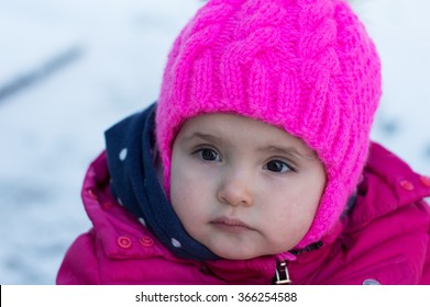 Portrait of baby in winter