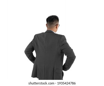 Portrait of back of serious young Asian business man standing isolated on white background. People lifestyle.