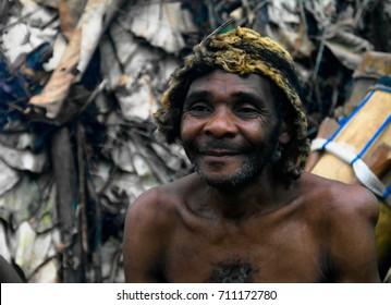 Portrait of Baka pigmy tribe chief - 04-03-2014 Dja Reserve, Cameroon