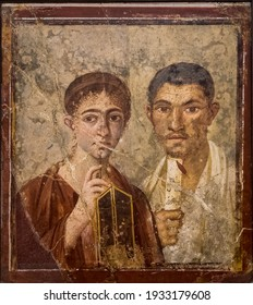 Portrait of the baker Terentius Neo and his wife. Perhaps ht only one of this kind discovered in the ancient roman site of Pompeii, near Naples. It was completely destroyed by the eruption of Vesuvius