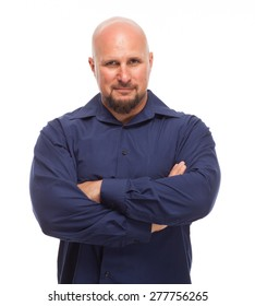 Portrait of bald, handsome young man isolated on white background. Man with arms crossed and smirk on face.