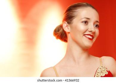 Portrait of a ballet dancer on stage