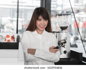 Portrait of a barista at the coffee shop