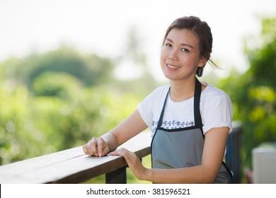 Portrait of barista girl