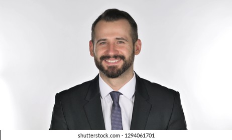 Portrait of Beard Businessman Shaking Head to Accept, Yes