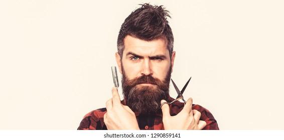 Portrait beard man. Barber scissors and straight razor, barber shop. Vintage barbershop, shaving. Mustache men. Beard macho man. Bearded man, bearded male.