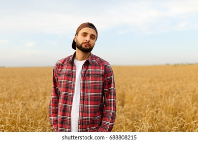 Portrait of a bearded farmer standing in a wheat field. Stilish hipster man with trucker hat and checkered shirt on. Agricultural worker