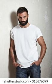 Portrait of a bearded guy wearing blank t-shirt