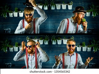 Portrait of bearded hipster with ginger hair in barbershop. Light shirt and suspender.