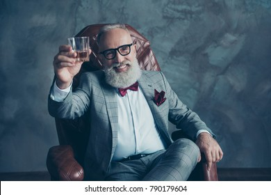 Portrait of bearded, lucky, old rich man in formal wear with bow tie and pocket square, sitting on chair, holding, raise glass with whiskey,  crypto-currency, shares, stock