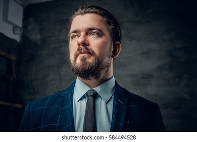 Portrait of bearded male dressed in a suit with bow tie.