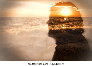 Portrait of bearded male on sea and sunrise background. Inner being and subconscious concept. Old photo stylization.