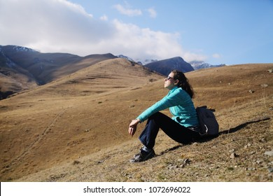 Portrait of beautiful 45 years old woman enjoys traveling