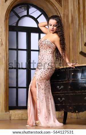Portrait Beautiful Actress Long Curly Hair Stock Photo Edit Now