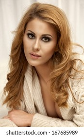 portrait of a beautiful adult sensuality brunette woman