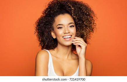 Portrait of beautiful african american female model smiling