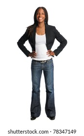 Portrait of beautiful African American woman with hands oh hips isolated over white background