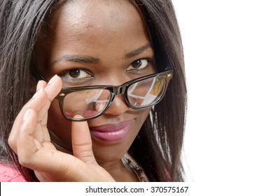 a portrait of beautiful African American  young woman, on white background
