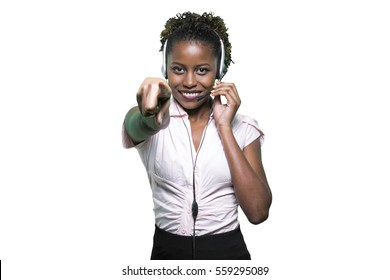 Portrait of a beautiful african secretary with handset. Online c