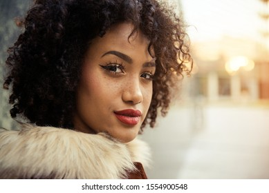 Portrait of a beautiful afroamerican young woman