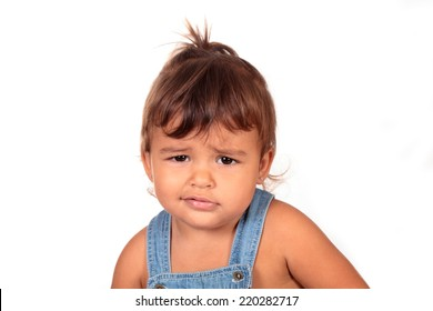 portrait of a beautiful angry girl on a white background