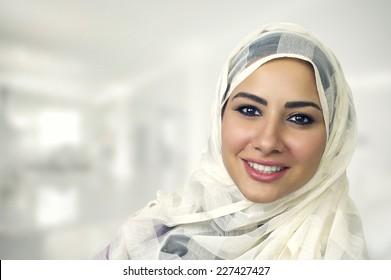 Portrait of a beautiful Arabian Woman wearing Hijab, Muslim Woman wearing Hijab