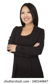 Portrait of a beautiful asian businesswoman arms crossed on white background. This photo has been produced with professionals.