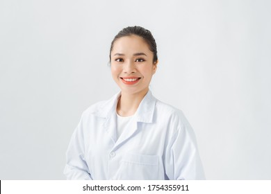 a portrait of beautiful asian doctor on white background