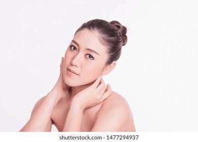 Portrait of Beautiful  Asian female model on white background