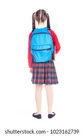 Portrait of beautiful Asian female student wearing school uniform and blue backpack