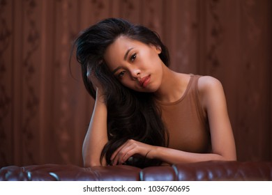 Portrait of beautiful asian girl indoors